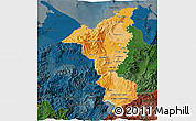 Political Shades 3D Map of Cortes, darken