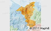 Political Shades 3D Map of Cortes, lighten