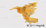 Political Shades Panoramic Map of Cortes, cropped outside