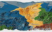 Political Shades Panoramic Map of Cortes, darken