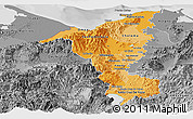 Political Shades Panoramic Map of Cortes, desaturated