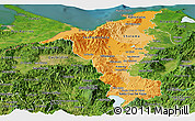 Political Shades Panoramic Map of Cortes, satellite outside