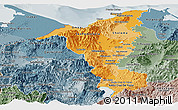 Political Shades Panoramic Map of Cortes, semi-desaturated