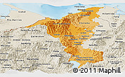 Political Shades Panoramic Map of Cortes, shaded relief outside