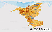 Political Shades Panoramic Map of Cortes, single color outside