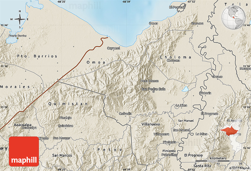 Shaded Relief Map Of San Pedro Sula - San pedro sula map