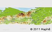 Physical Panoramic Map of San Pedro Sula