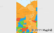Political Shades Simple Map of Cortes, political outside