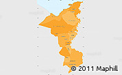 Political Shades Simple Map of Cortes, single color outside