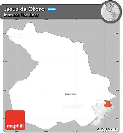 Free Gray Simple Map of Jesus De Otoro, single color outside