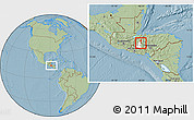 Savanna Style Location Map of San Rafael, highlighted parent region, hill shading