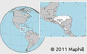 Blank Location Map of Honduras, gray outside