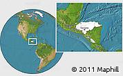 Blank Location Map of Honduras, satellite outside