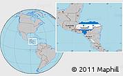 Flag Location Map of Honduras, gray outside
