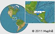 Flag Location Map of Honduras, satellite outside