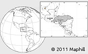 Gray Location Map of Honduras, blank outside