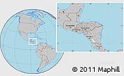 Gray Location Map of Honduras, hill shading inside