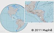 Gray Location Map of Honduras, hill shading outside