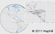 Gray Location Map of Honduras, lighten, desaturated