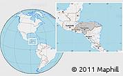 Gray Location Map of Honduras, lighten, land only