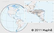 Gray Location Map of Honduras, lighten