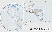 Gray Location Map of Honduras, lighten, semi-desaturated