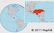 Gray Location Map of Honduras