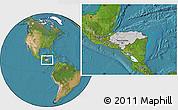 Gray Location Map of Honduras, satellite outside