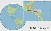 Gray Location Map of Honduras, savanna style outside