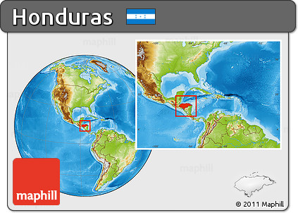 Physical Location Map of Honduras, within the entire continent