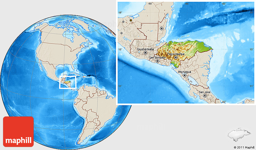 Physical Location Map Of Honduras Shaded Relief Outside