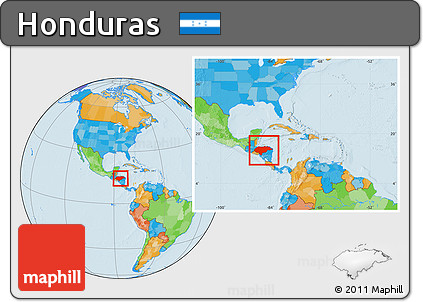 Free Political Location Map of Honduras within the entire continent