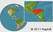 Satellite Location Map of Honduras