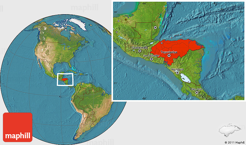 Satellite Location Map Of Honduras