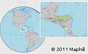 Savanna Style Location Map of Honduras, gray outside