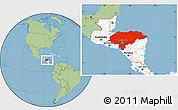 Savanna Style Location Map of Honduras, highlighted continent