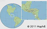 Savanna Style Location Map of Honduras, hill shading inside