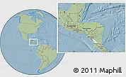 Savanna Style Location Map of Honduras, hill shading outside