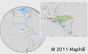 Savanna Style Location Map of Honduras, lighten, desaturated