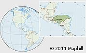 Savanna Style Location Map of Honduras, lighten