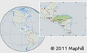 Savanna Style Location Map of Honduras, lighten, semi-desaturated