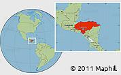 Savanna Style Location Map of Honduras