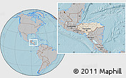 Shaded Relief Location Map of Honduras, gray outside, hill shading