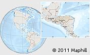 Shaded Relief Location Map of Honduras, lighten