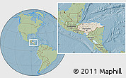 Shaded Relief Location Map of Honduras, savanna style outside, hill shading