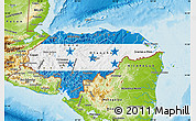 Flag Map of Honduras, physical outside
