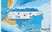 Flag Map of Honduras, political shades outside