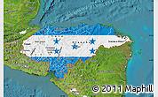 Flag Map of Honduras, satellite outside