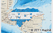 Flag Map of Honduras, shaded relief outside