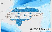 Flag Map of Honduras, single color outside, bathymetry sea